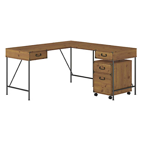 "Kathy Ireland® Home by Bush Furniture Ironworks 60""W L-Shaped Writing Desk With 2-Drawer Mobile File Cabinet, Vintage Golden Pine, Standard Delivery"