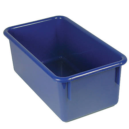 "Stowaway® Storage Container, No Lid, 5 1/2""H x 8""W x 13 1/2""D, Blue, Pack Of 5"