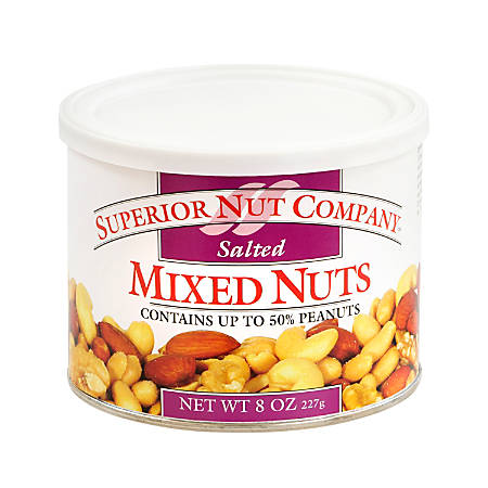 Superior Nut Nuts, Salted Mixed Nuts, 8 Oz, Box Of 12