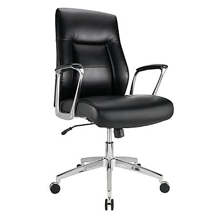 Realspace® Modern Comfort Delagio Bonded Leather Managerial Mid-Back Chair, Black/Silver