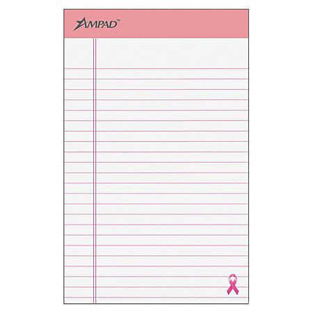 """Ampad® Esselte Breast Cancer Awareness Writing Pads, 5"""" x 8"""", Pink/White, 50 Sheets Per Pad, Pack Of 6"""
