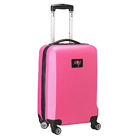 """Denco 2-In-1 Hard Case Rolling Carry-On Luggage, 21""""H x 13""""W x 9""""D, Tampa Bay Buccaneers, Pink"""