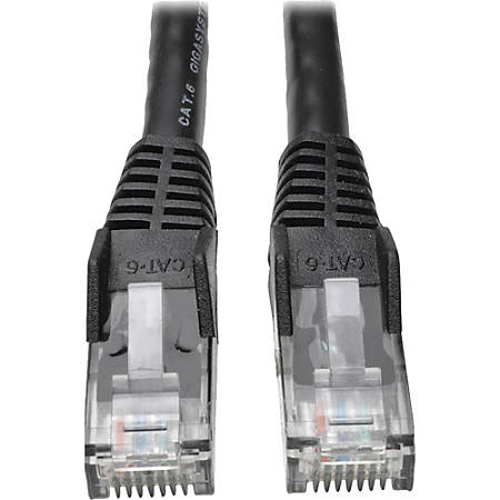 Tripp Lite 50ft Cat6 Gigabit Snagless Molded Patch Cable RJ45 M/M Black 50' - for Network Device - 50ft - 1 x RJ-45 Male Network - 1 x RJ-45 Male Network - Black