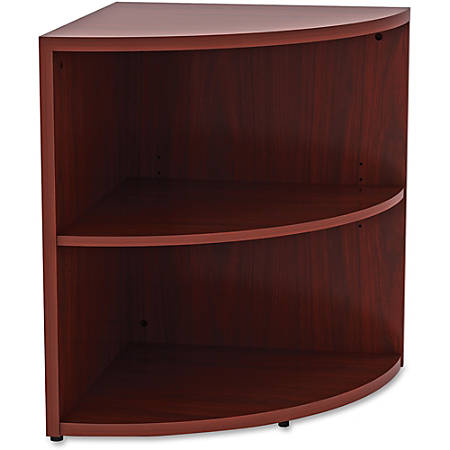 "Lorell® Essentials Series 30""H 2-Shelf Corner Bookcase, Mahogany"