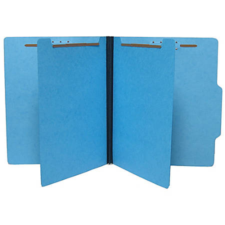 SJ Paper Top-Tab Economy Classification Folders, Letter Size, 2 Dividers, 35% Recycled, Blue, Box Of 25