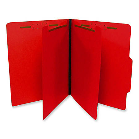 SJ Paper Top-Tab Economy Classification Folders, Letter Size, 2 Dividers, 35% Recycled, Red, Box Of 25