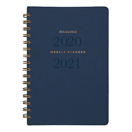 "AT-A-GLANCE® Signature Collection 13-Month Weekly/Monthly Academic Planner, 5-1/2"" x 8-1/2"", Navy, July 2020 To July 2021, YP200A20"
