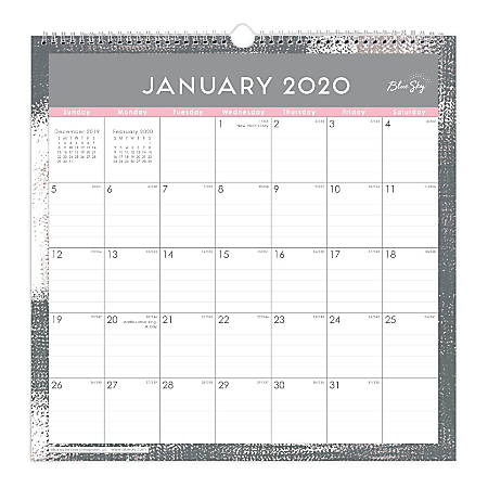 """Blue Sky™ Monthly Safety Wirebound Wall Calendar, 12"""" x 12"""", Remy, January To December 2020, 116061"""