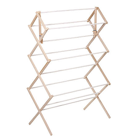 """Honey-Can-Do Accordion-Style Wood Drying Rack, 41""""H x 14""""W x 29""""D, Natural/White"""