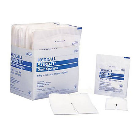 "Covidien SORB-IT™ Drain And IV Sponges, Sterile, 2"" x 2"", 6-Ply, Pack Of 70"