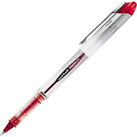 Uni-Ball Vision Elite Rollerball Pens - Bold Pen Point Type - 0.8 mm Pen Point Size - Refillable - Red Gel-based Ink - Light Gray Barrel - 1 Each