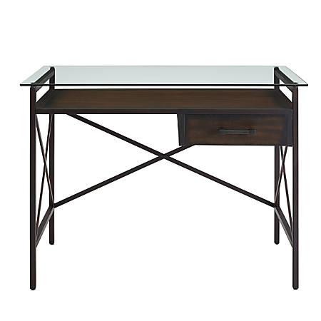 "Southern Enterprises Ely 38""W Writing Desk, Aged Walnut"