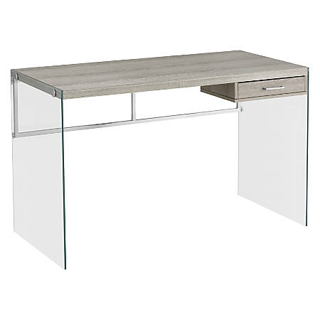 Monarch Specialties Computer Desk With Glass Base, Dark Taupe
