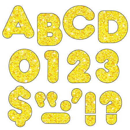 """TREND Ready Letters®, Casual, 2"""", Yellow Sparkle, Pre-K - Grade 12, Pack Of 142"""