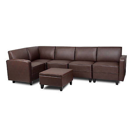Groovy Boss Sectional Sofa With Ottoman And Table Brown Item 708002 Machost Co Dining Chair Design Ideas Machostcouk