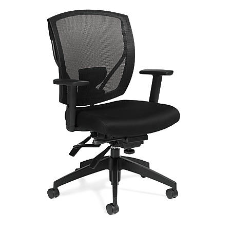 """Offices To Go™ Mid-Back Chair, Infinate Seat Lock, Mesh Back, 39 1/2""""H x 27""""W x 26""""D, Black"""