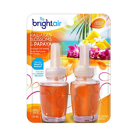 Bright Air® Electric Scented Oil Warmer Air Freshener Refills, 1.34 Oz, Hawaiian Blossom Papaya Scent, Pack Of 2