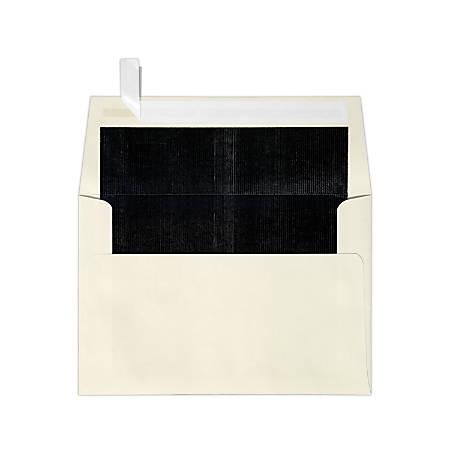 """LUX Foil-Lined Invitation Envelopes With Peel & Press Closure, A4, 4 1/4"""" x 6 1/4"""", Natural/Black, Pack Of 1,000"""