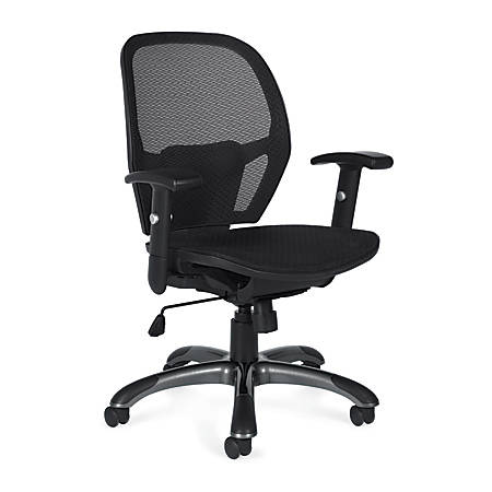"Offices To Go™ Mid-Back Chair, Mesh Back, 38""H x 26""W x 26""D, Black"