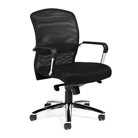 "Offices To Go™ Mid-Back Chair, Mesh Back, 38 1/2""H x 25""W x 23""D, Black/Silver"
