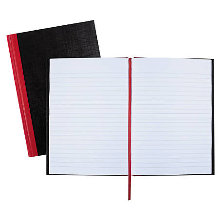 "Black n' Red™ Notebook/Journal, 8 1/4"" x 5 7/8"", 192 Pages (96 Sheets), Black/Red (E66857)"