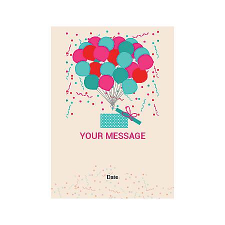Flat Photo Greeting Card, Balloons And Gift Box, Vertical