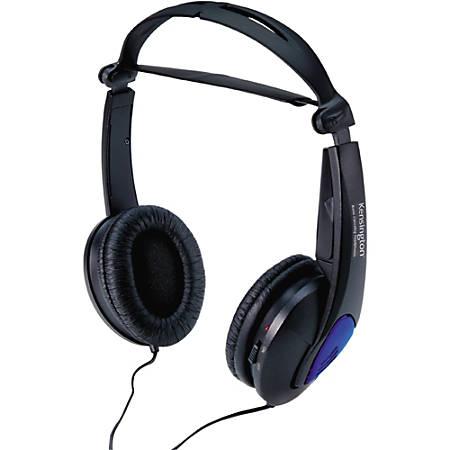Kensington Noise Canceling Headphones - Stereo - Black - Mini-phone - Wired - Over-the-head - Binaural - Supra-aural - Noise Canceling