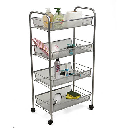 Mind Reader 4-Tier Mobile All-Purpose Utility Cart, Silver