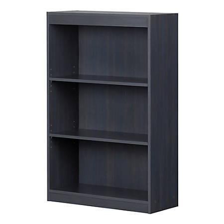 """South Shore Axess 43-1/4""""H 3-Shelf Bookcase, Blueberry"""