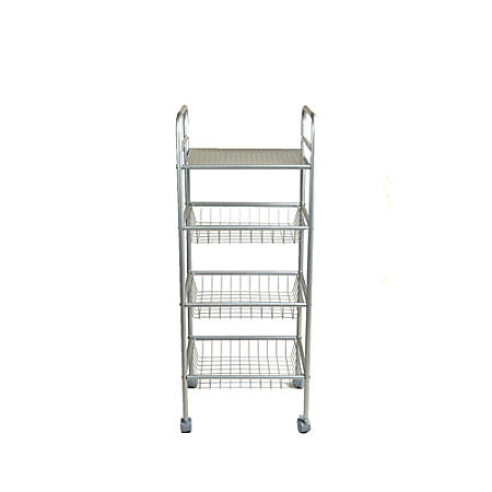 Mind Reader Square 4-Tier Metal Mobile Utility Cart, Silver