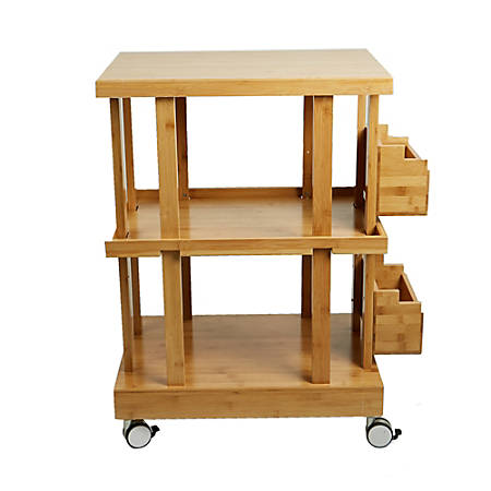 Mind Reader 3-Tier Bamboo Kitchen Utility Cart With 2 Storage Compartments, Brown