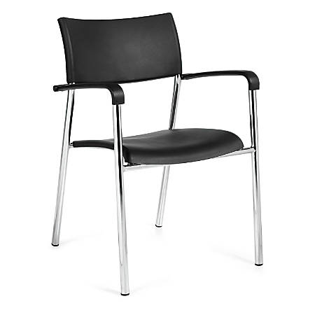 "Offices To Go™ Guest Chair, 31 1/2""H x 21""W x 21 1/2""D, Black/Chrome, Set Of 4"