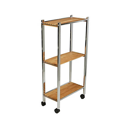 Mind Reader 3-Tier Bamboo All-Purpose Utility Cart, Brown