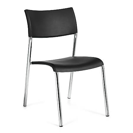 "Offices To Go™ Guest Chair, 31 1/2""H x 21""W x 18""D, Black/Chrome, Set Of 4"