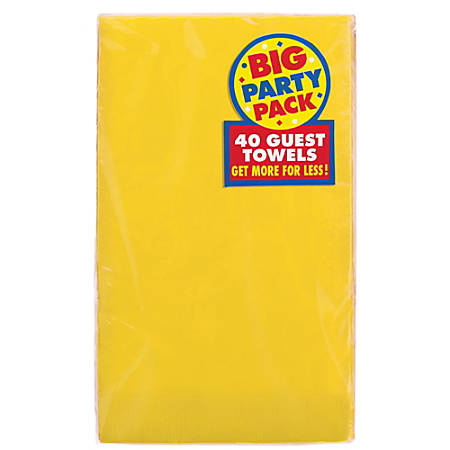 """Amscan 2-Ply Paper Guest Towels, 7-3/4"""" x 4-1/2"""", Sunshine Yellow, 40 Towels Per Pack, Set Of 2 Packs"""
