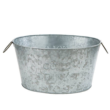 "Mind Reader Heavy-Duty Oval Galvanized Iron Ice Bucket Chiller Tub, 10 1/4""H x 18 15/16""W x 13 3/4""D, Silver"