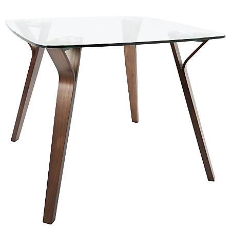 Lumisource Folia Mid-Century Modern Dining Table, Square, Glass/Walnut