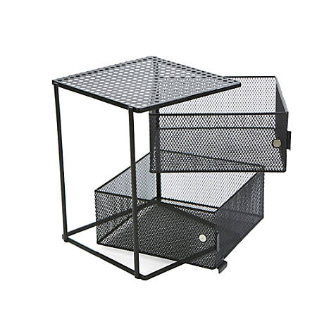 "Mind Reader Rotating 2-Tier Metal All-Purpose Baskets, 9 1/4""H x 7 1/2""W x 7 1/2""D, Black"
