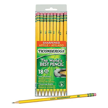 Ticonderoga® Wood-Cased Pencils, (13818), #2 HB Soft, Sharpened, Yellow, 18 Ct