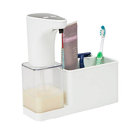 Mind Reader Refillable Hands-Free Automatic Soap Dispenser With Sensor Pump Storage Compartment Caddy, White