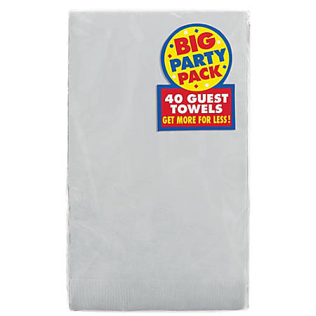 """Amscan 2-Ply Paper Guest Towels, 7-3/4"""" x 4-1/2"""", Silver, 40 Towels Per Pack, Set Of 2 Packs"""