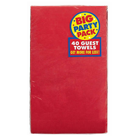 "Amscan 2-Ply Paper Guest Towels, 7-3/4"" x 4-1/2"", Red, 40 Towels Per Pack, Set Of 2 Packs"
