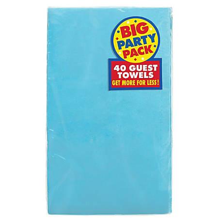 "Amscan 2-Ply Paper Guest Towels, 7-3/4"" x 4-1/2"", Caribbean Blue, 40 Towels Per Pack, Set Of 2 Packs"