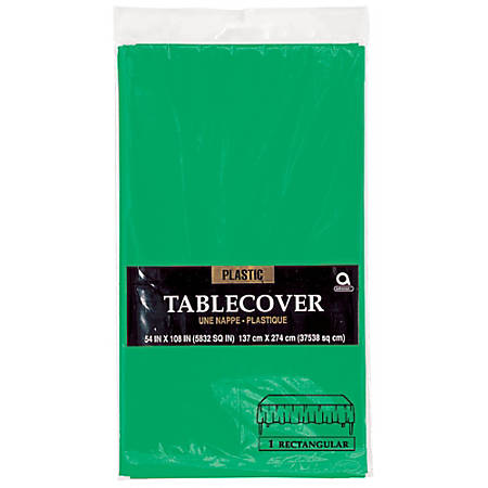 "Amscan Plastic Table Covers, 54"" x 108"", Festive Green, Pack Of 9 Table Covers"
