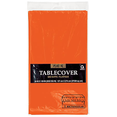 "Amscan Plastic Table Covers, 54"" x 108"", Orange Peel, Pack Of 9 Table Covers"