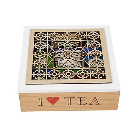 "Mind Reader Tea Box Storage Holder, 9 1/2""H x 9 1/4""W x 3 3/16""D, Wood Floral"