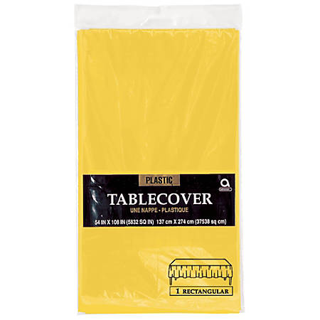 "Amscan Plastic Table Covers, 54"" x 108"", Sunshine Yellow, Pack Of 9 Table Covers"