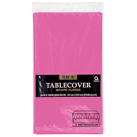 "Amscan Plastic Table Covers, 54"" x 108"", Bright Pink, Pack Of 9 Table Covers"