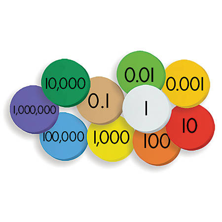 """Essential Learning Products Place Value Discs, 1"""" Diameter, Multicolor, Grades 1 - 5, Pack Of 250 Discs"""