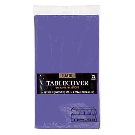 """Amscan Plastic Table Covers, 54"""" x 108"""", Purple, Pack Of 9 Table Covers"""